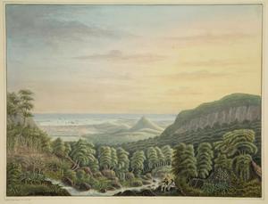 Gezicht op Mauritius met in de voorgrond twee figuren; in de achtergrond Port Louis