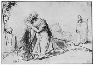 H. Hieronymus biddend in de woestijn