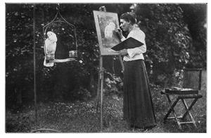 Marie Kelting schildert een kaketoe naar het leven in Artis
