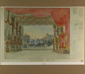 Toneeldecor voor de opera 'Vespre Sicilien'