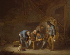 Rokende en drinkende boeren in een schuur