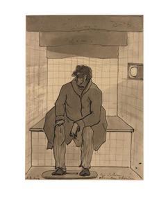 Christiaan Andriessen zittend in het secreet ziet een landschap geprojecteerd op de muur
