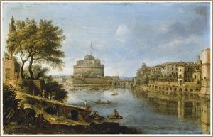 Gezicht op Rome over de Tiber naar het Castel Sant'Angelo ofwel de Engelenburcht