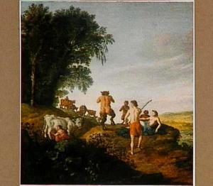 Nimfen en satyrs in een landschap