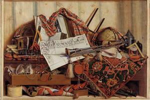 Trompe-l'oeil met een trompet, hemelglobe en een proclamatie van Frederik III
