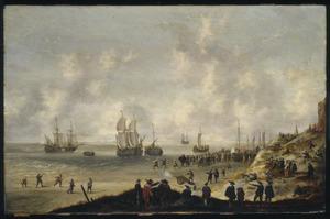 Strandgezicht bij Scheveningen; Hollandse soldaten verhinderen een invasie van Engelse troepen voor de ogen van vele toeschouwers