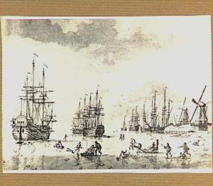 IJsgezicht met vastgevroren schepen