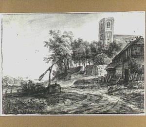 Kerk en boerderij aan een landweg