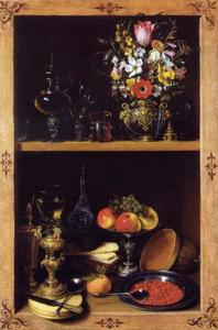Kast met fruit en bloemen
