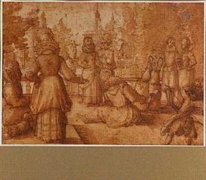 Galante figuren in een tuin, rechts Cupido