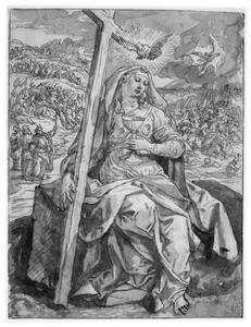 Het Geloof; op de achtergrond de doortocht van de Israëlieten door de Rode Zee en de ondergang van de Egyptenaren in de Rode Zee (Exodus 14:21-29)