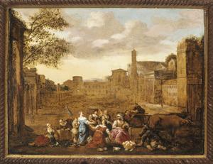 Groentehandel op het Forum Romanum in Rome