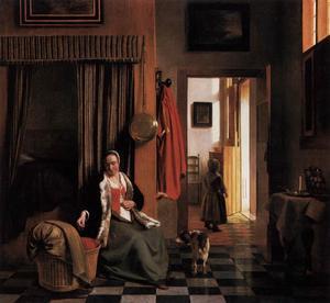 Interieur met een vrouw zittend naast een wieg