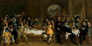 Schuttersmaaltijd ter ere van de benoeming van de Amsterdamse burgemeester Jan van de Poll (1597-1678) tot kolonel van de schutterij in 1650