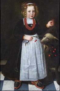 Portret van een vierjarig kind met een schaap