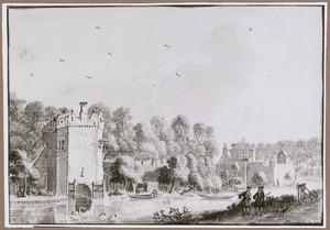 Gezicht over de Stadsbuitengracht op de stadswal van Utrecht  met de Servaastoren en het bastion Zonnenburg
