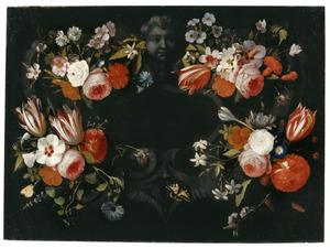 Bloemen met cartouche