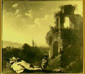 Landschap met baders bij een ruïne