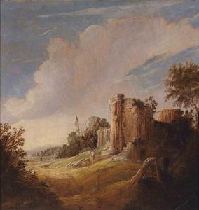 Landschap met een ruïne, een herder en schapen