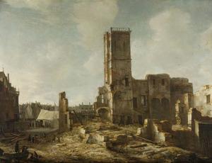 Puinhopen van het Oude Stadhuis te Amsterdam na de brand van 7 juli 1652