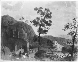 Zuidelijk landschap met reizigers en rustende ruiters bij een ruïne