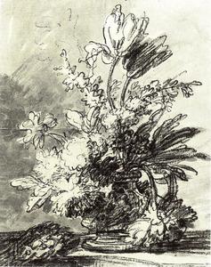 Bloemstilleven in een vaas op een tafel