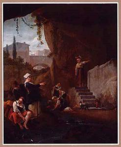 Grotinterieur met wasvrouwen; op de  achtergrond een doorkijk naar een zuidelijke stad