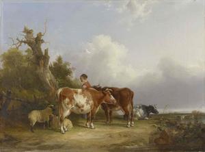 Melkmeid met schapen en vee in een landschap