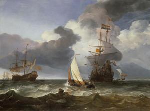 Smalschip en twee Oost-Indiëvaarders op een bewegelijke zee