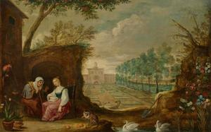 Vertumnus en Pomona in een tuin (Ovidius, Met. 14: 623-697)