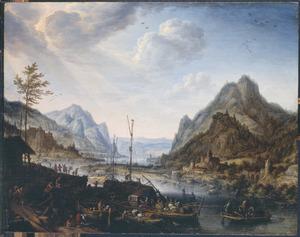 Berglandschap met boten bij een aanlegplaats in de bocht van een rivier