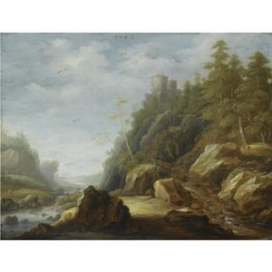 Rotslandschap met een rivier en een kasteel
