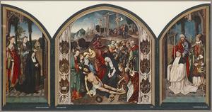 De HH. Cecilia en Maria Magdalena met stichtster (binnenzijde links), De bewening geflankeerd door de overige zes Smarten van Maria (midden), De HH. Jacobus de Meerdere en Martinus van Tours met een Augustijner monnik (binnenzijde rechts); De HH. Apollonia en Gertrudis van Nijvel (buitenzijde links), De HH. Agatha en Agnes (buitenzijde rechts)