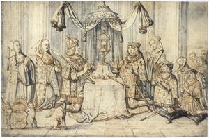 Keizer Maximiliaan I en zijn familieleden vereren de monstrans in de heilige kapel in Dijon