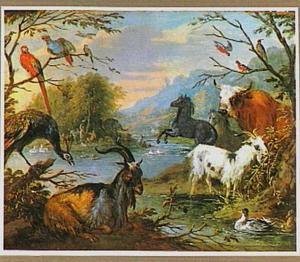 Het aards paradijs, op de achtergrond biedt Eva het verboden fruit aan aan Adam (Genesis 3:6)
