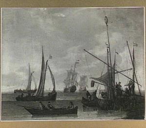 Zeilschepen bij een aanlegplaats