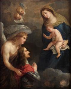 Aartshertog Leopold Wilhelm van Habsburg (1614-1662) in gebed voor de Madonna
