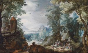 Overvallers in een boslandschap