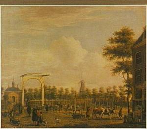Gezicht op de Veemarkt te Amsterdam met de Utrechtse poort gezien vanuit de Utrechtse straat