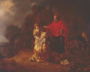 De  Sunamitische vrouw werpt zich aan de voeten van Elisa (2 Koningen 4:37)