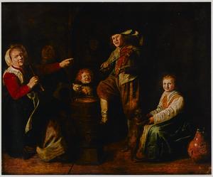 Interieur met musicerende kinderen