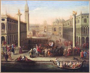 Gezicht op het Dogenpaleis en het San Marcoplein te Venetië tijdens het Carnaval