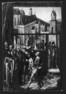 Christus voor Pilatus. In de achtergrond het stadhuis van Haarlem