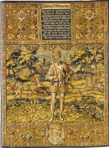 Valdemar II (1180-1241) met jachtscenes op de achtergrond