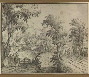 Landschap met dorp aan een beek
