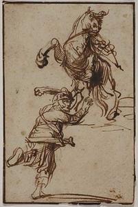 Studie van een krijger met een paard