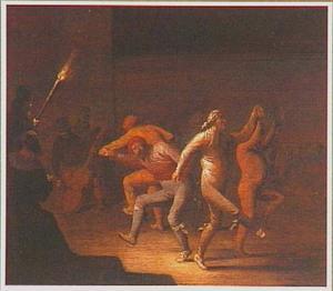 Musicerende en dansende boeren bij fakkellicht