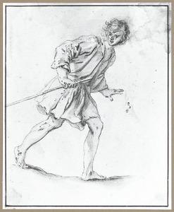 Naar rechts rennende jonge herder