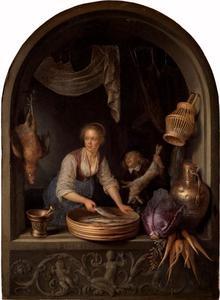 Keukenmeid met vis en een jongen met een haas in een venster