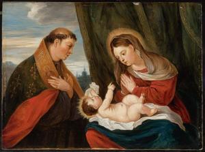 De H. Lodewijk van Toulouse de MAdonna en het Kind aanbiddend